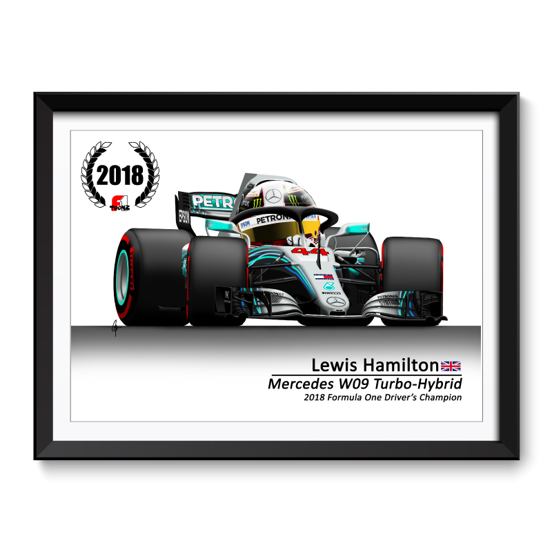 Lewis Hamilton 2018 Formula 1 World Champion Cartoon Framed Print