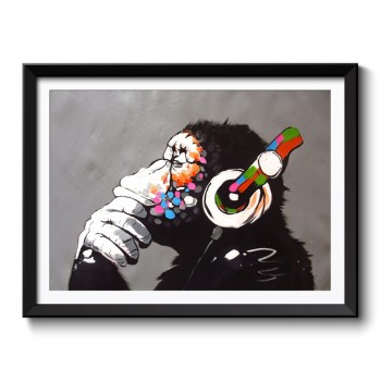 Banksy DJ Monkey Framed Art Print