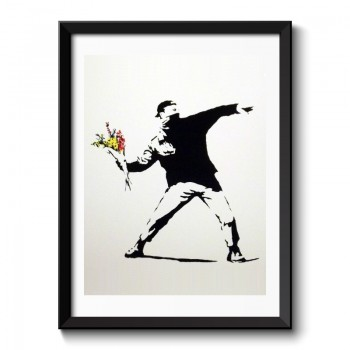 Banksy Flower Thrower Framed Print