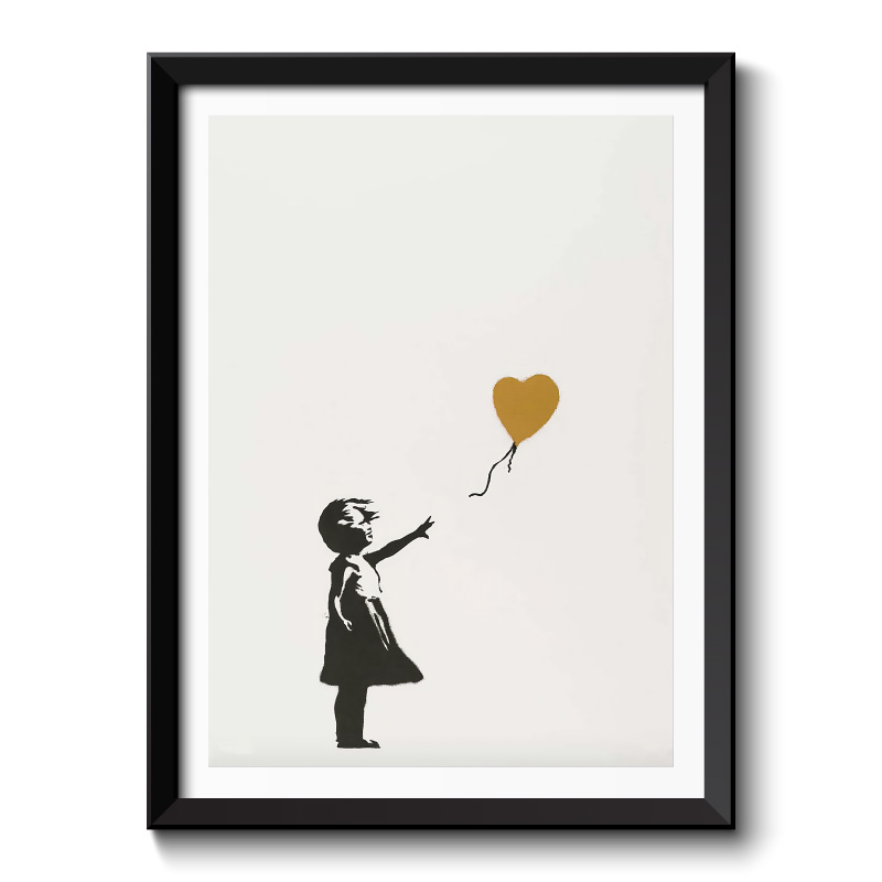 Banksy Girl With Golden Balloon Framed Print