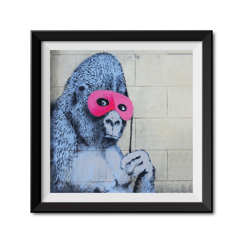Banksy Gorilla in a Pink Mask Framed Art Print