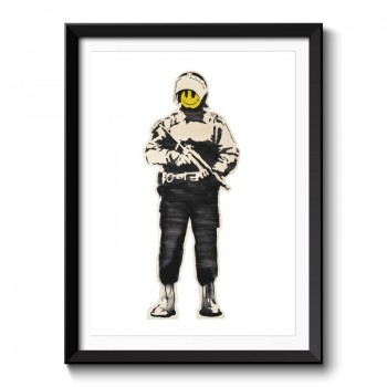Banksy Smiling Copper Framed Print