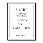 Classy and Fabulous Coco Chanel Quote Framed Art Print