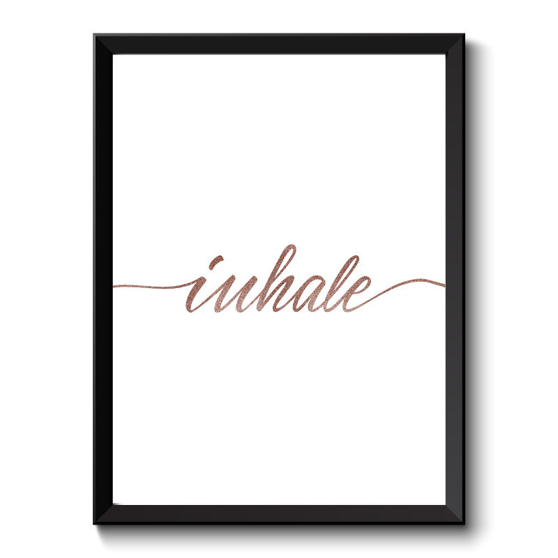 Inhale Rose Gold Typography Framed Print
