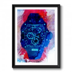RM Watch Red Ink Background Style Framed Print